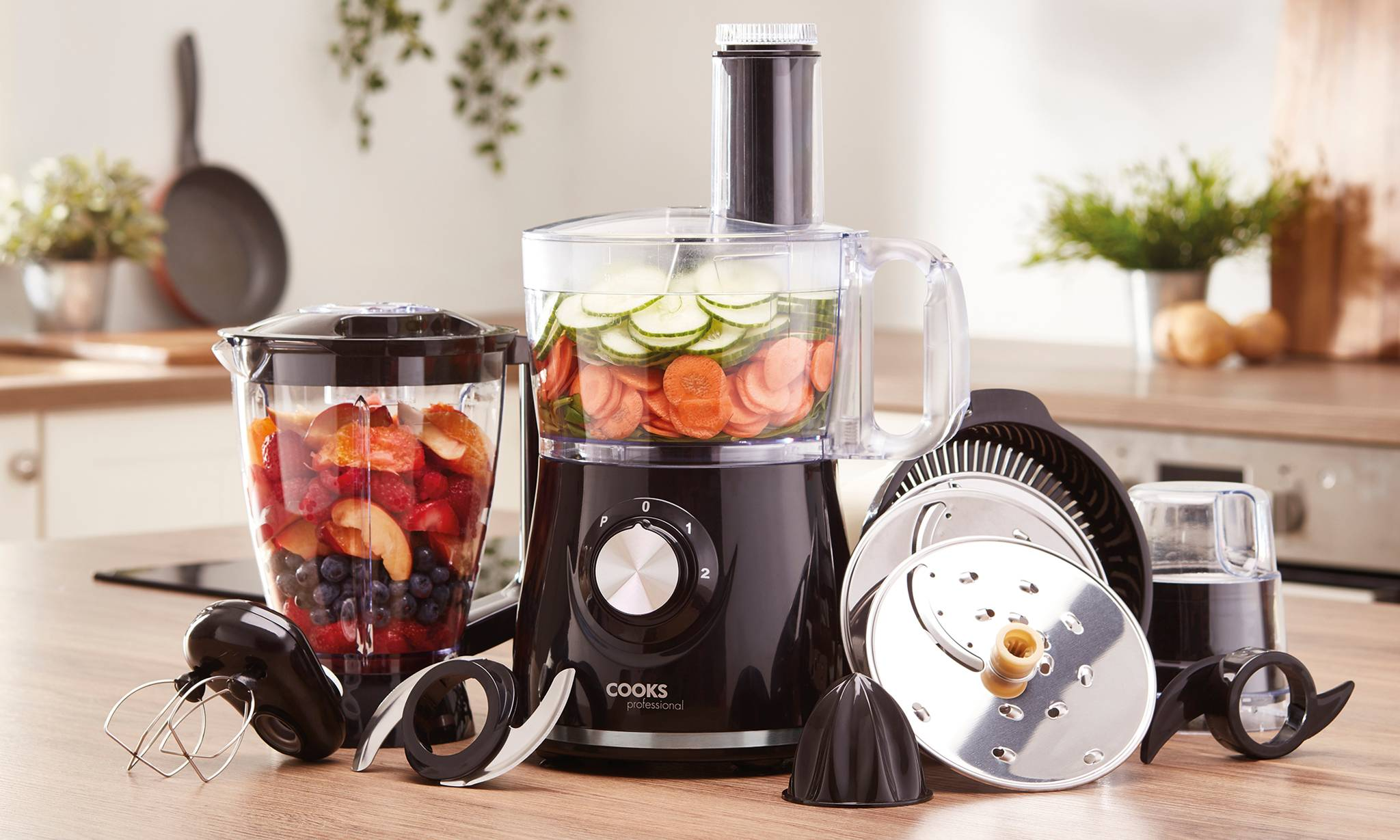 44.99 Multifunctional Food Processor with Accessories: Silver