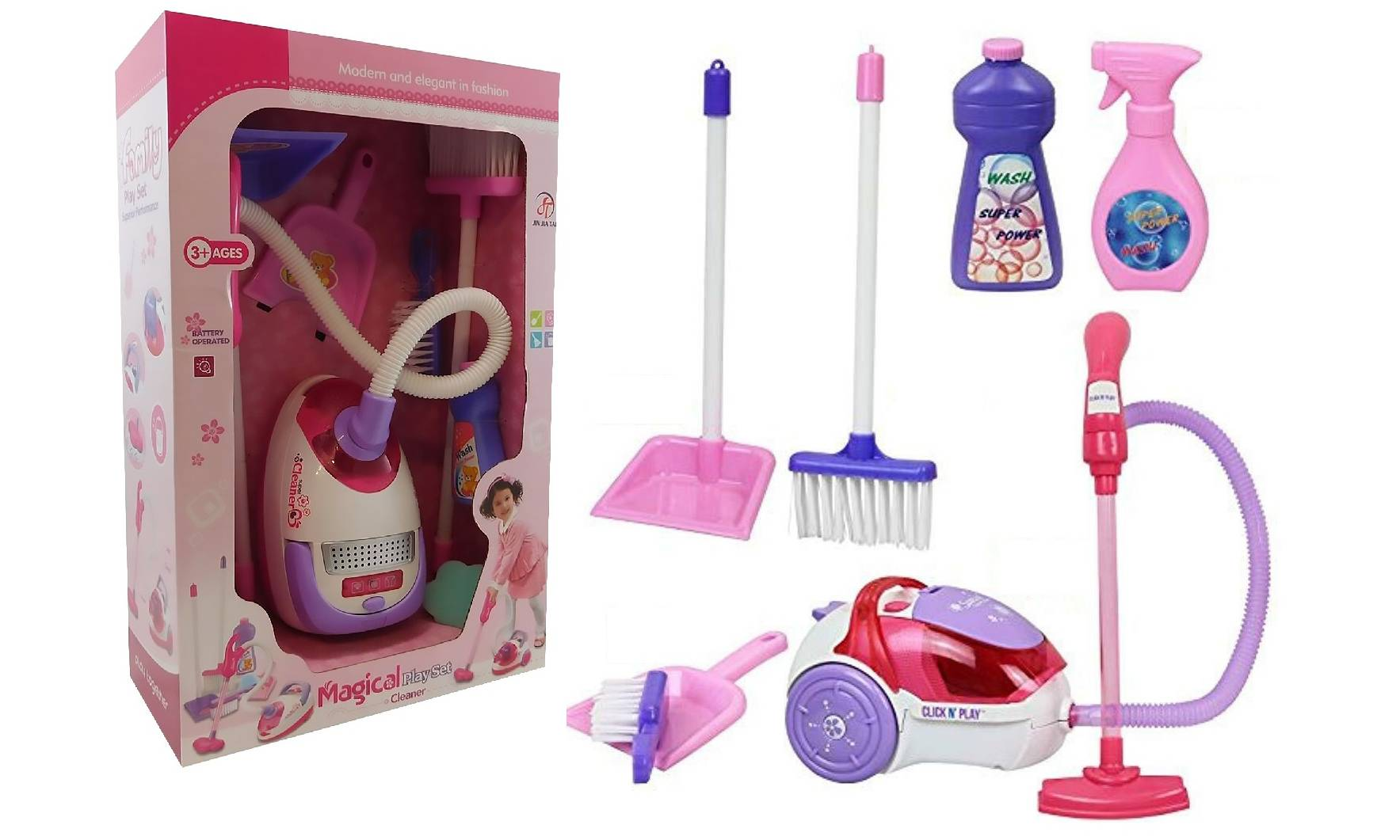 17.95 AllKindaThings Kids' Vacuum Cleaner with Accessories