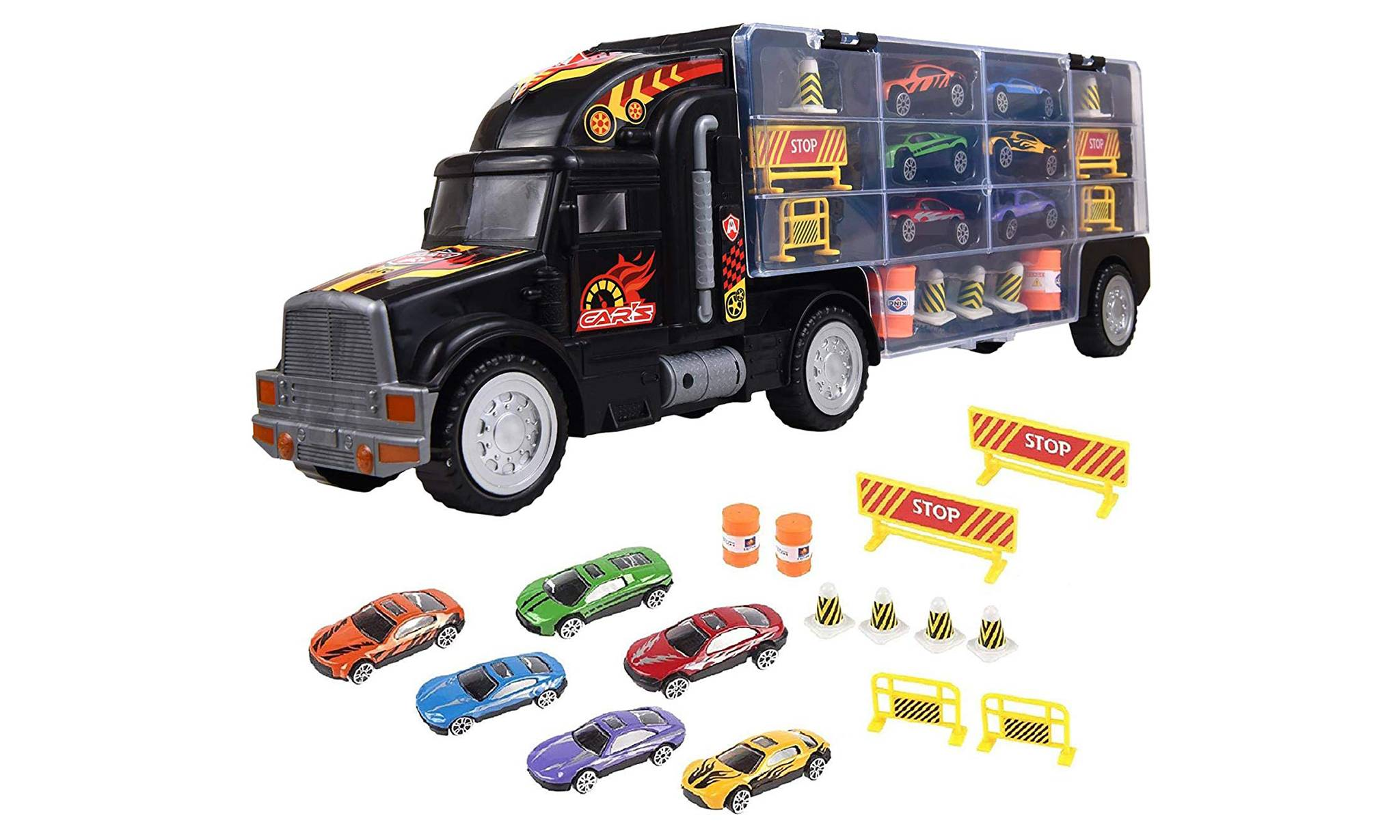 10.99 Soka Transport Truck Car Carrier with Cars and Accessories