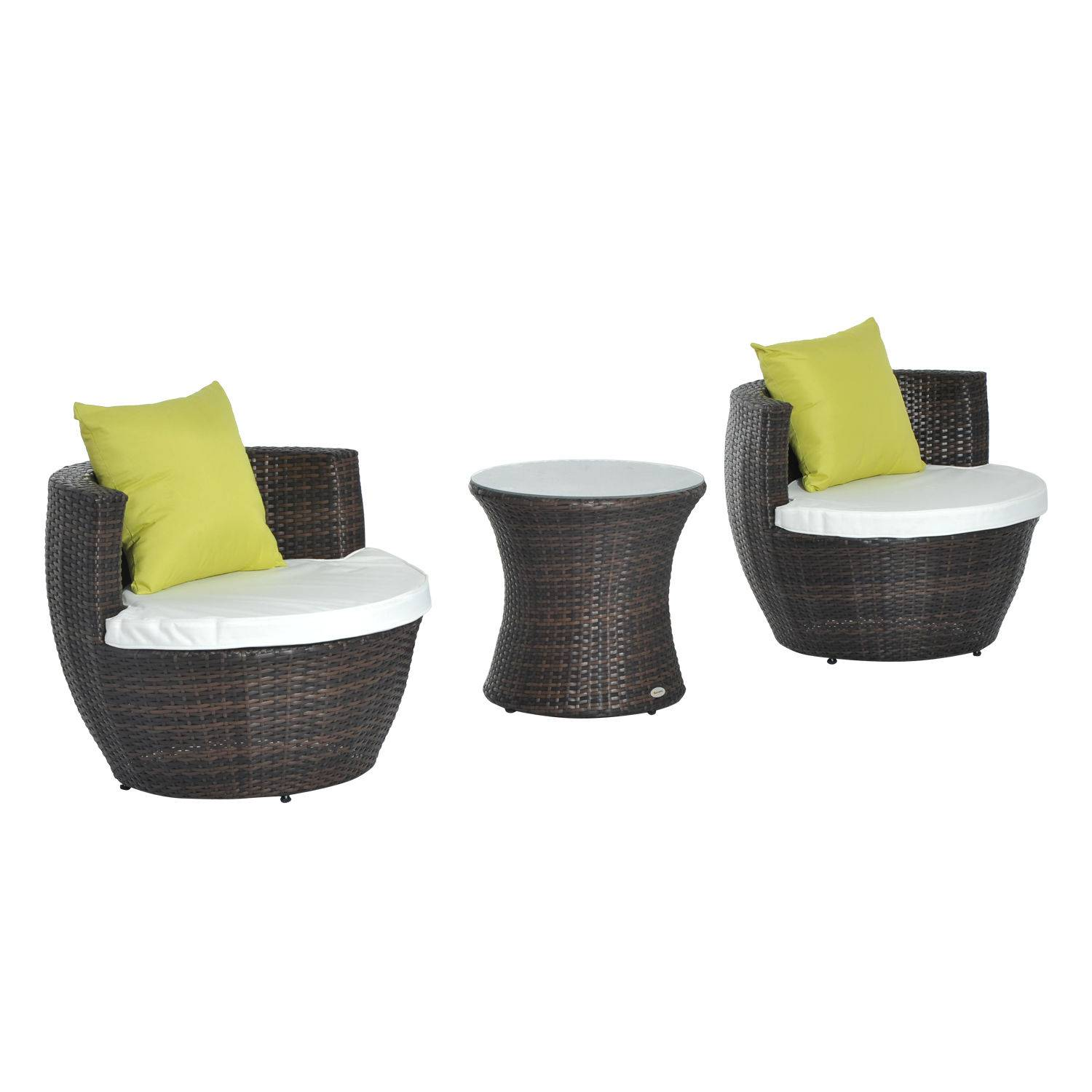 Outsunny 3Pc Garden Rattan Vase Chair Set: 1 x Table, 2 x Chair-Green
