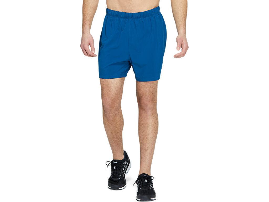 asics sport 5 inch run short mako blue