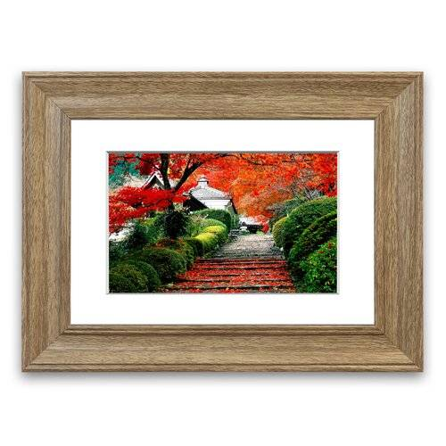 East Urban Home 'Red Autumn Garden' Framed Photographic Print East Urban Home Size: 50 cm H x 70 cm W, Frame Options: Teak Woodgrain  - Size: 93 cm H x 70 cm W