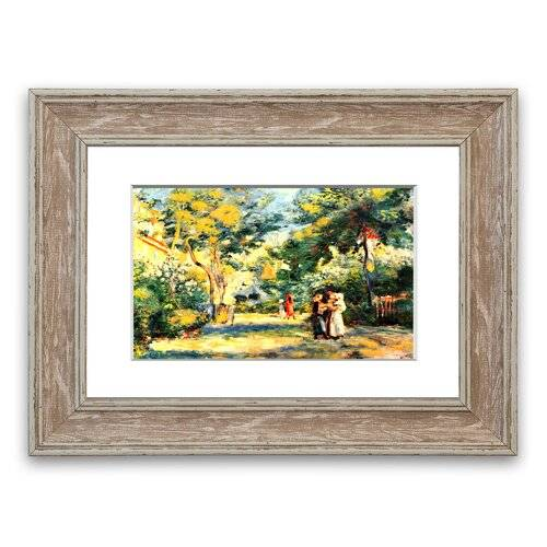 East Urban Home Figures in the Garden Cornwall' Framed Photographic Print East Urban Home Size: 70 cm H x 93 cm W, Frame Options: Walnut  - Size: 93 cm H x 70 cm W