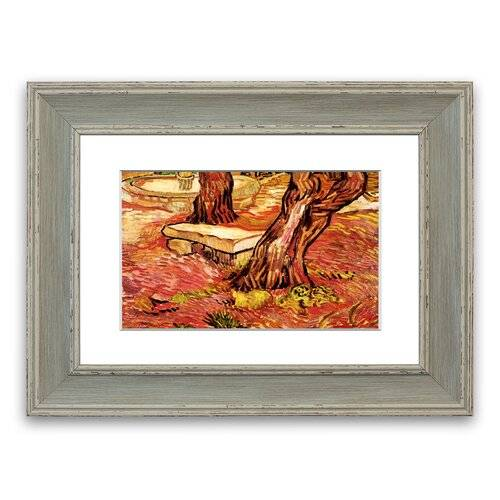 East Urban Home 'The Stone Bench In The Garden Of Saint Paul Hospital By Van Gogh Cornwall' Framed Photographic Print East Urban Home Size: 70 cm H x 93 cm W, Frame O  - Size: 70 cm H x 93 cm W