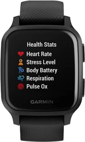 Garmin Venu SQ Music Ed. GPS Smartwatch - Black & Slate Bezel, B