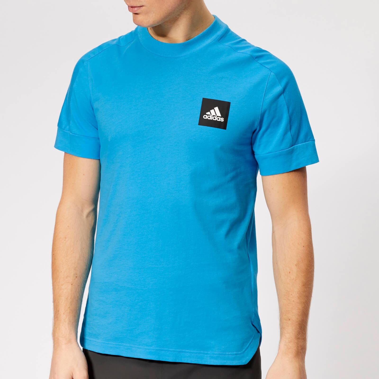 adidas Men's ID Stadium Short Sleeve T-Shirt - Shock Cyan - S - Blue