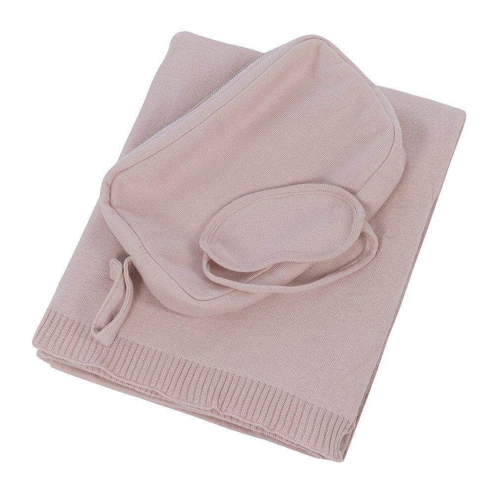 Retreat - Knitted Eye Mask & Blanket Set - Blush