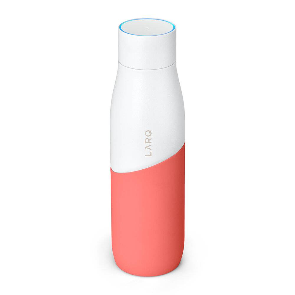 LARQ - Self-Cleaning Lightweight Water Bottle PureVis - White/Coral - 710ml