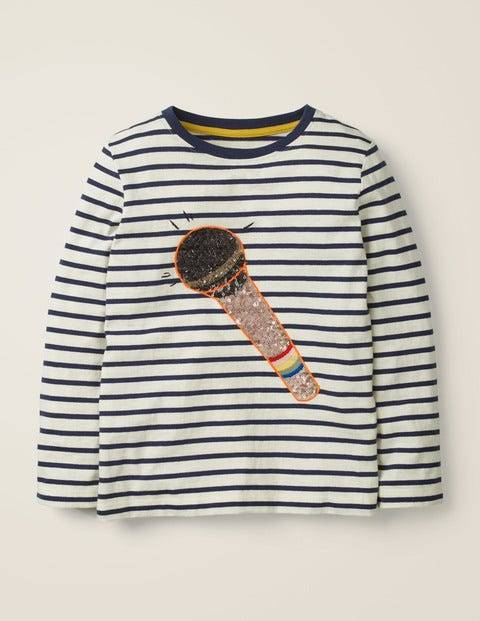 Johnnie b Sequin Music T-shirt Ivory Girls Boden