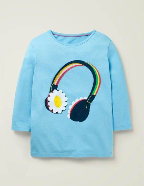 Mini Music Flutter T-shirt Blue Girls Boden  - Female - Blue - Size: 7-8y