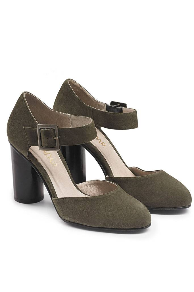 olive green suede 2 part court shoe