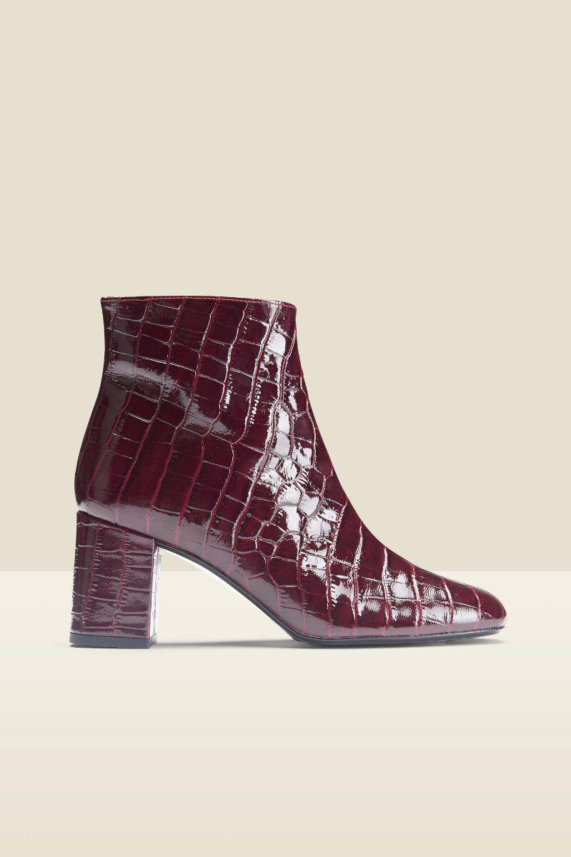 anna burgundy croc leather block heel boot