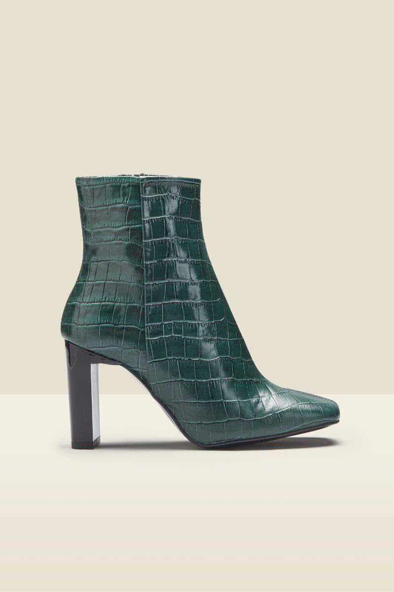 apollo green croc leather square toe ankle boot