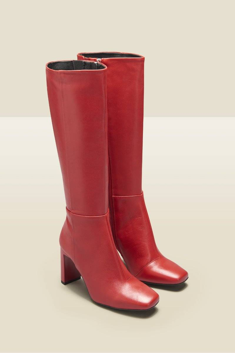 bailey red leather knee high heeled boot