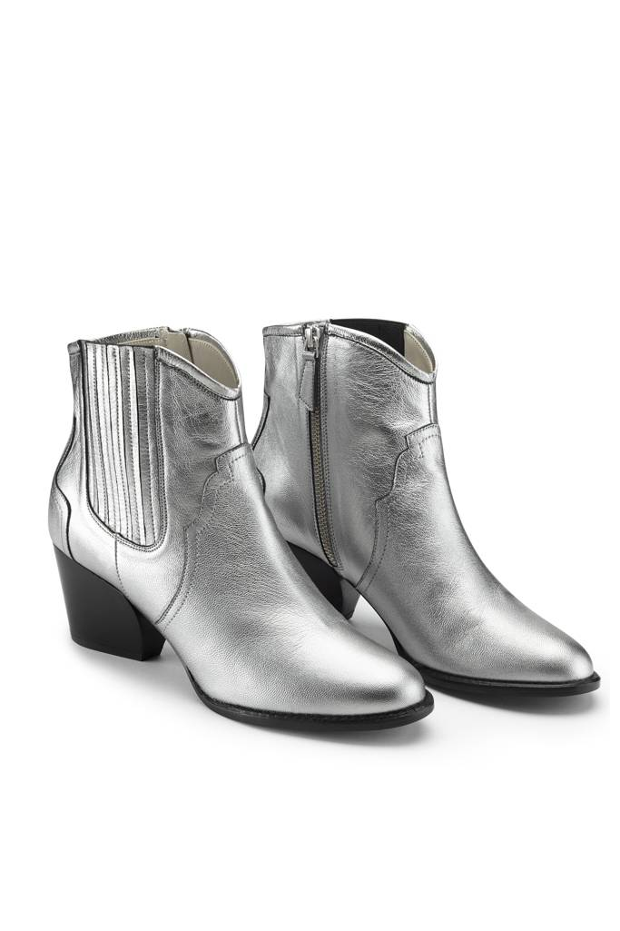 western digital silver leather boot