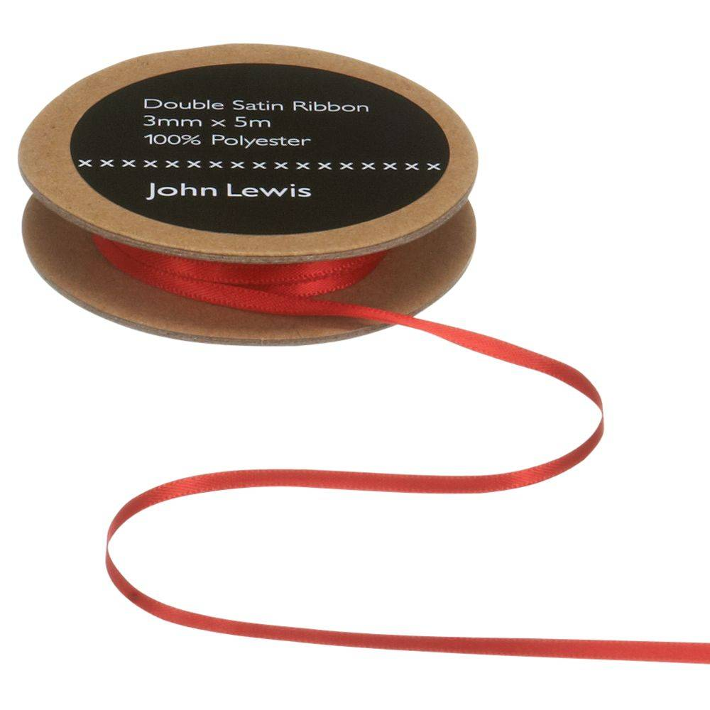 John Lewis & Partners Double Satin Ribbon, 5m, Red  - Red - Size: 50mm