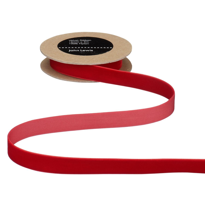 John Lewis & Partners Velvet Ribbon  - Red - Size: 16mm