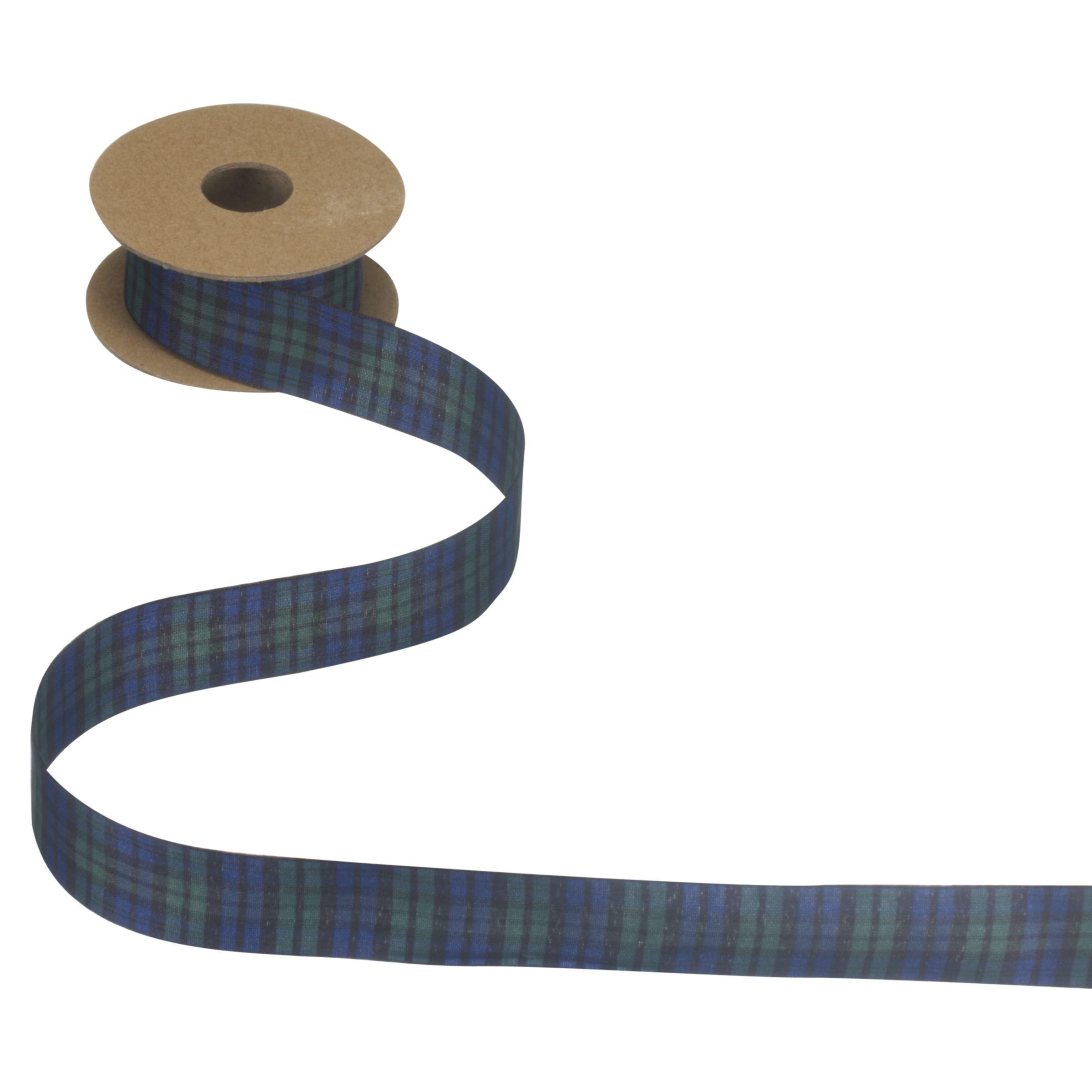 John Lewis & Partners Tartan Ribbon, 5m  - Black Watch - Size: 25mm