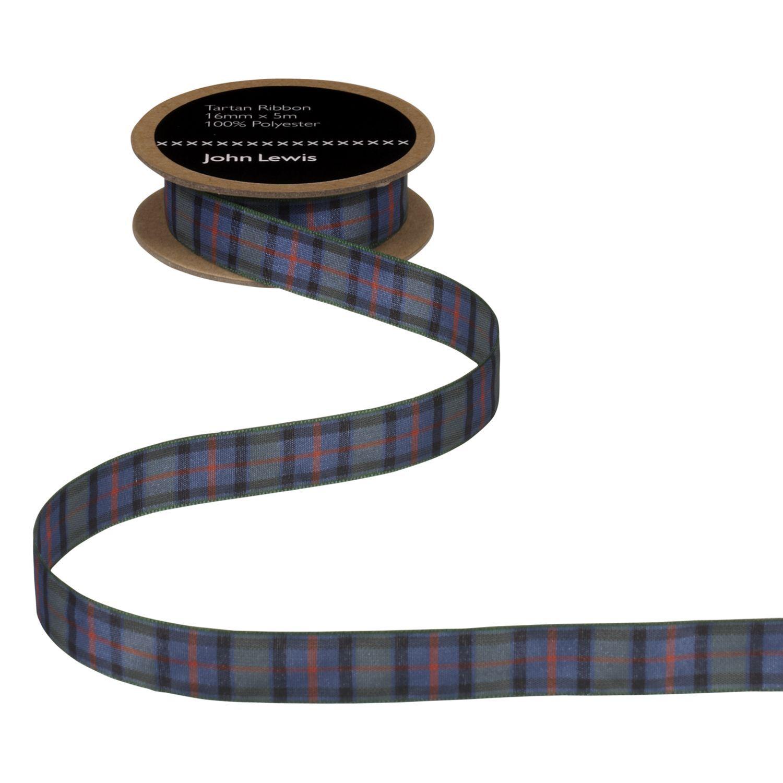 John Lewis & Partners Tartan Ribbon, 5m  - Flower of Scotland - Size: 25mm