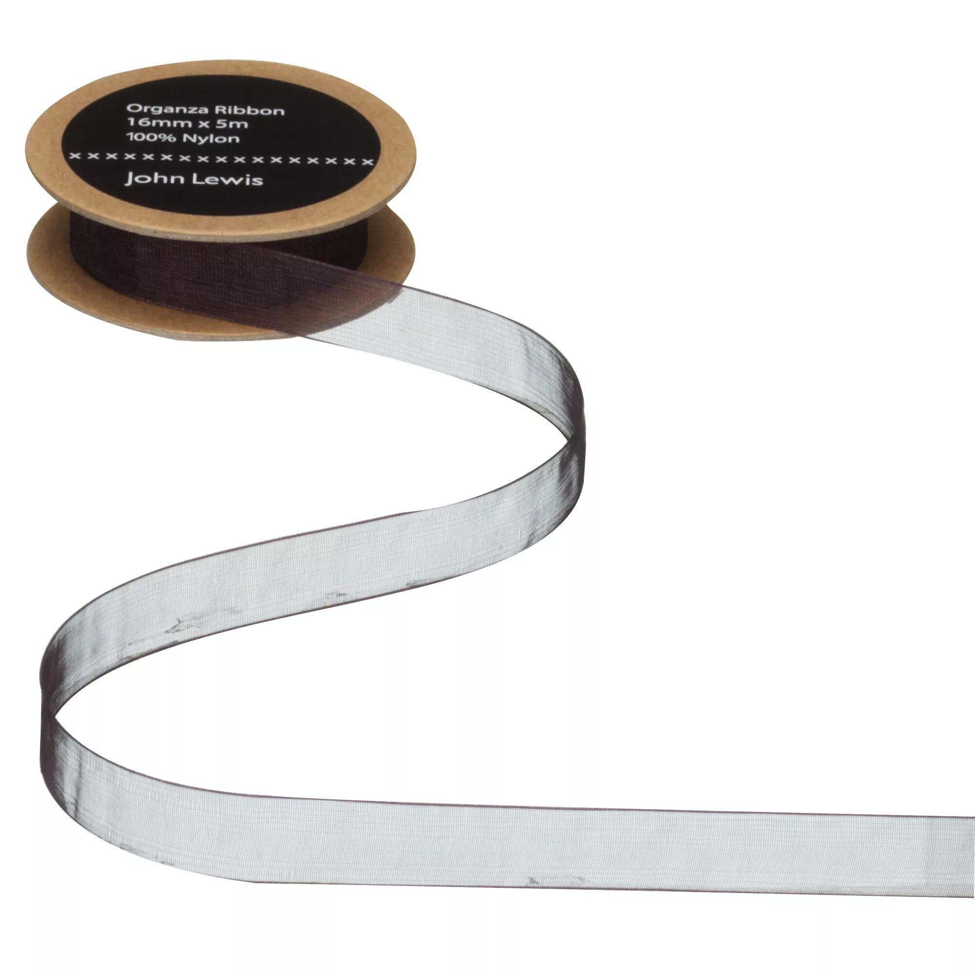John Lewis & Partners Woven Edge Organza Ribbon  - Black - Size: 16mm