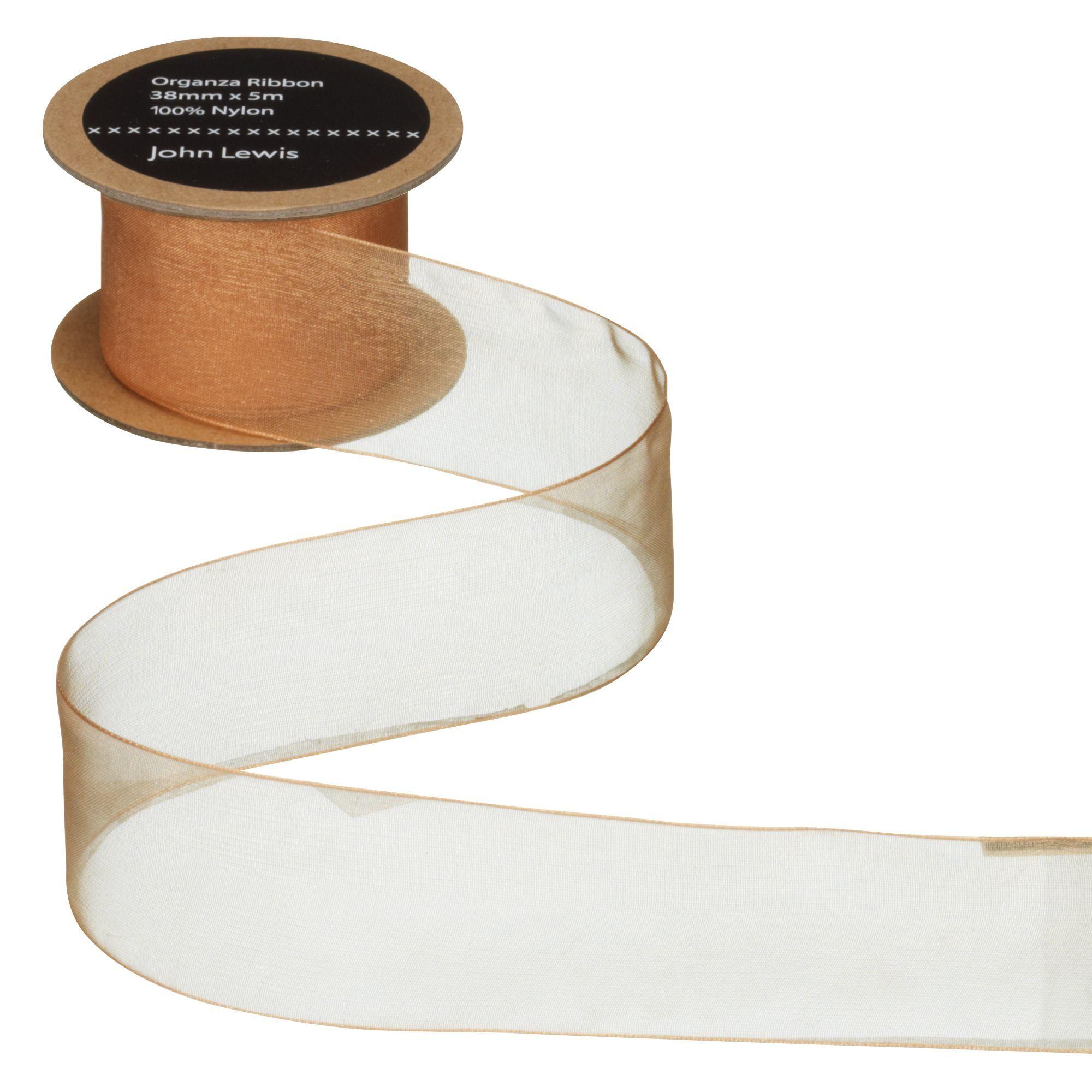 John Lewis & Partners Woven Edge Organza Ribbon  - Gold - Size: 38mm
