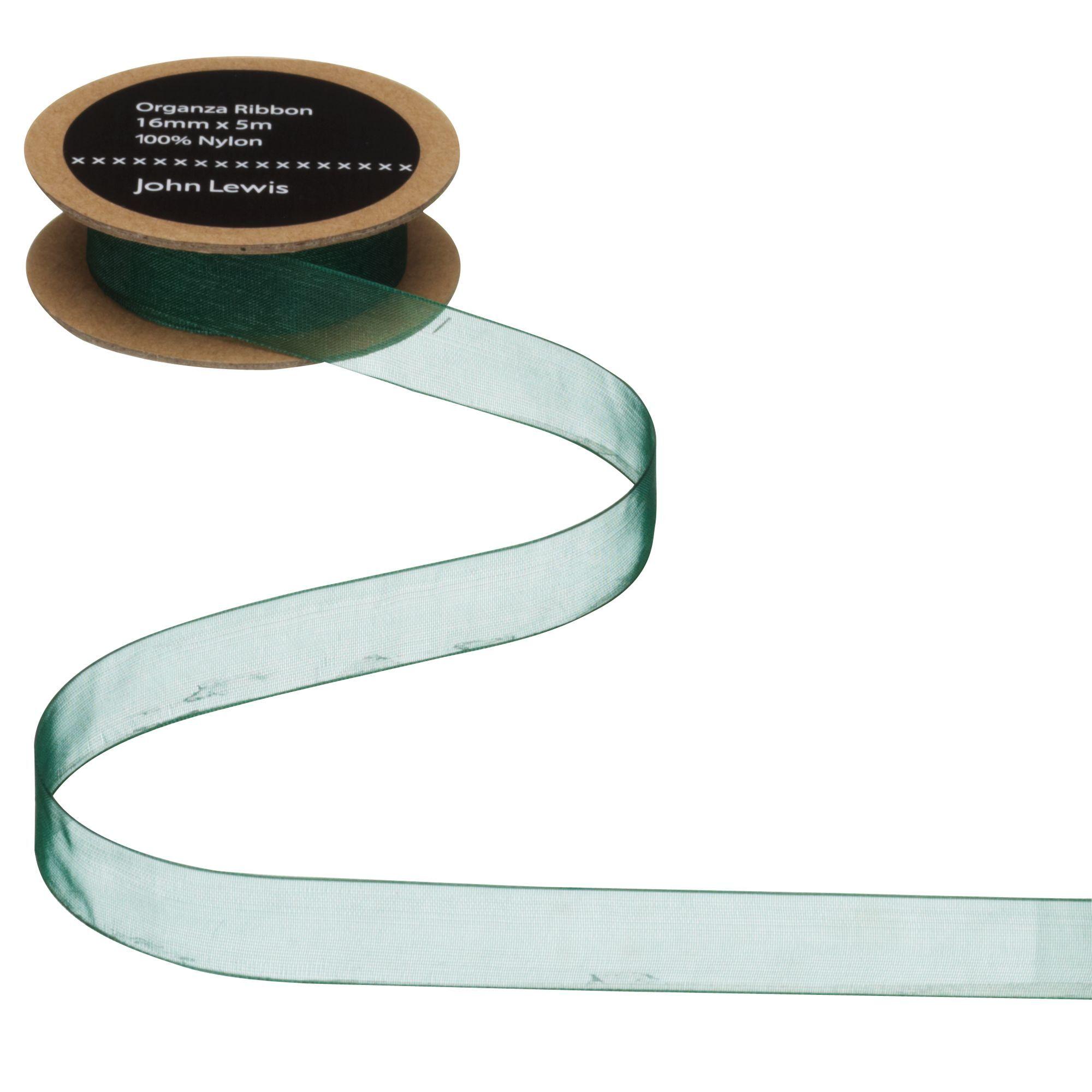 John Lewis & Partners Woven Edge Organza Ribbon  - Green - Size: 38mm
