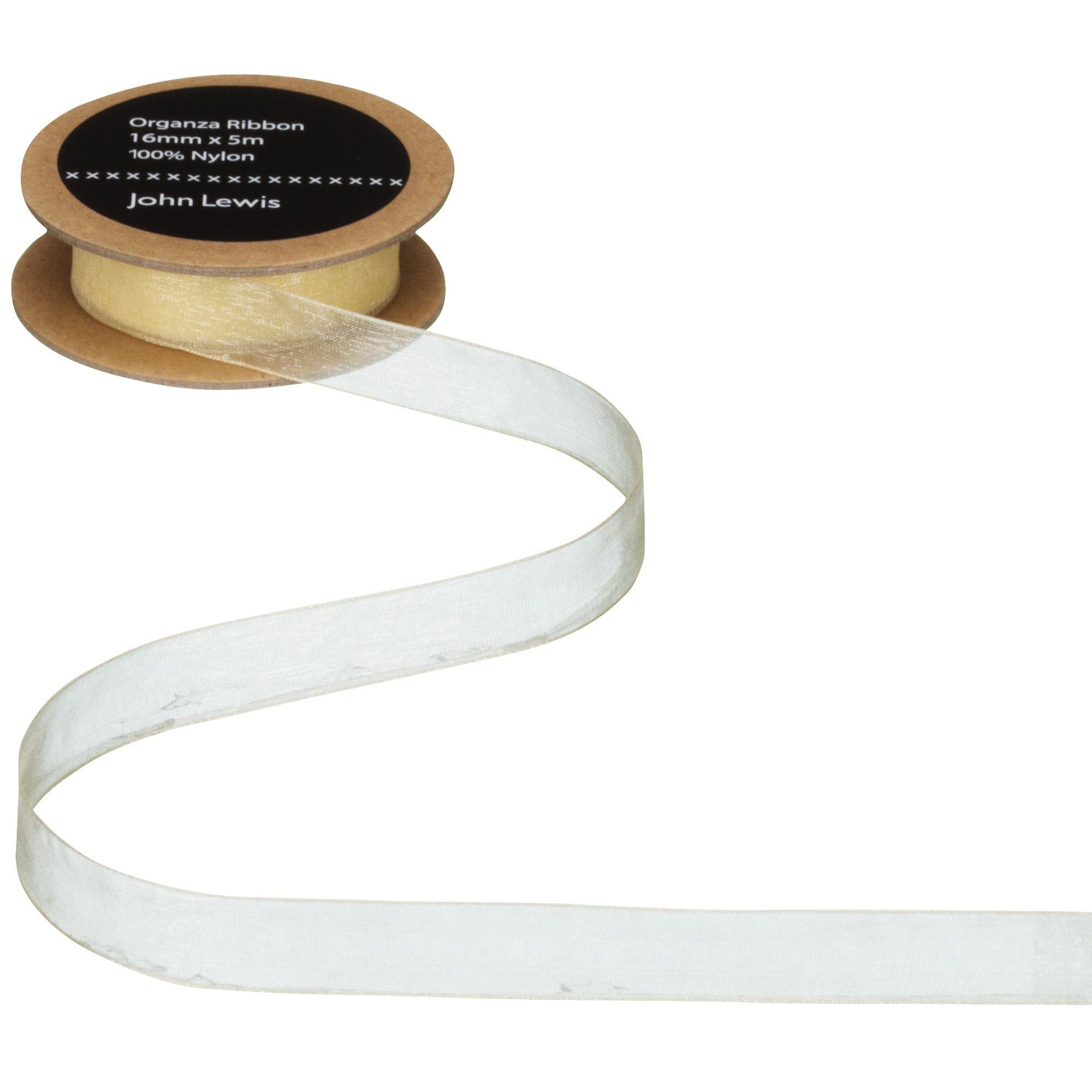 John Lewis & Partners Woven Edge Organza Ribbon  - Ivory - Size: 38mm