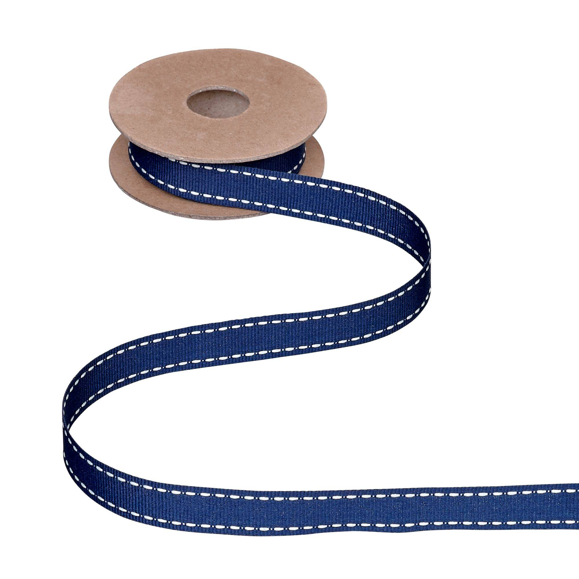 John Lewis & Partners Grosgrain Stitch Ribbon, 5m  - Navy