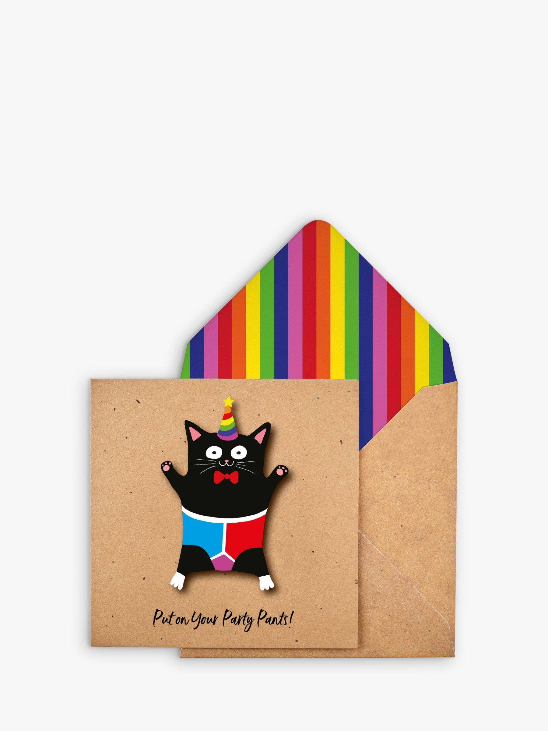 Tache Crafts Party Pants Cat Birthday Card  - Multi