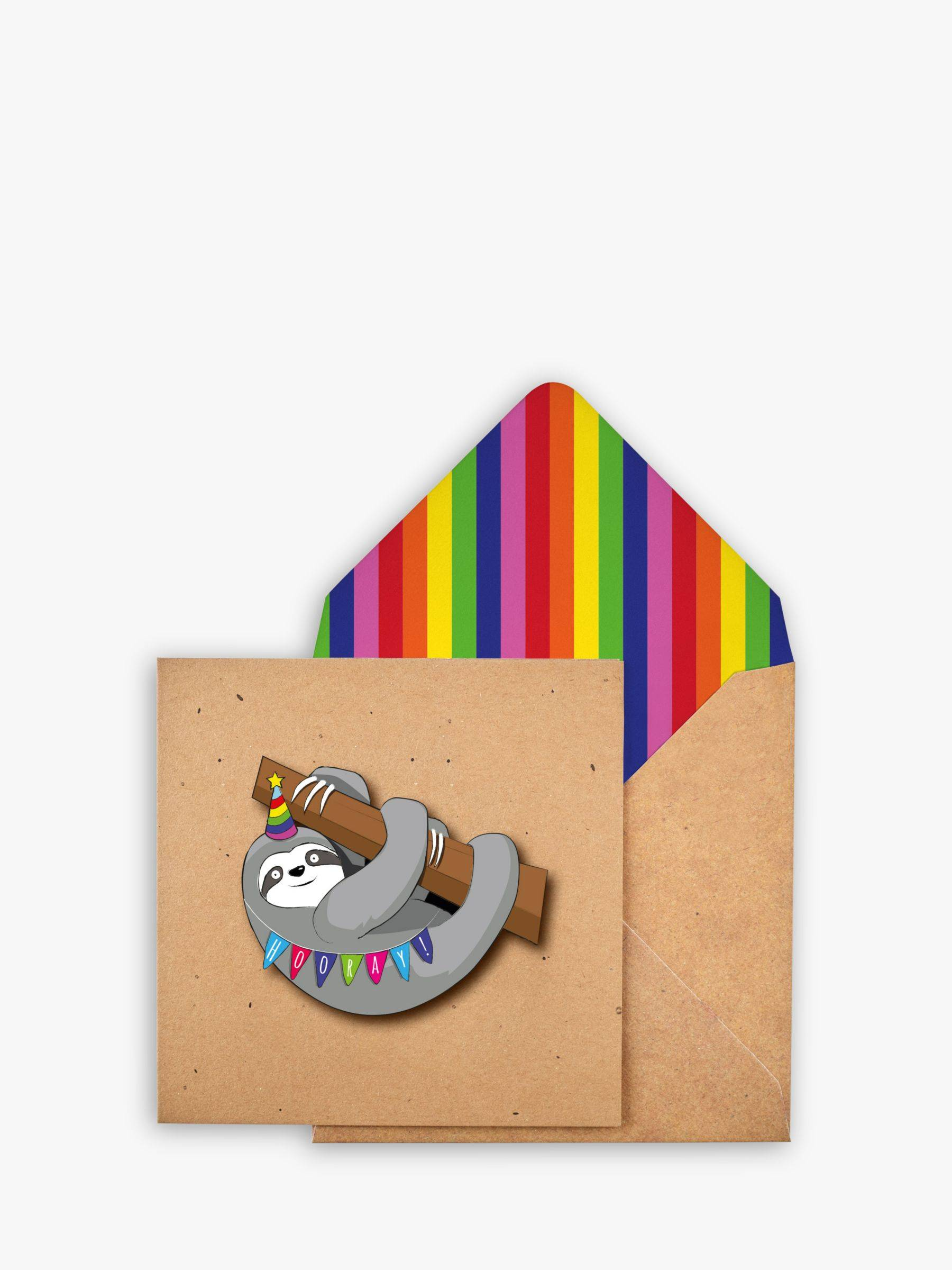 Tache Crafts Sloth Birthday Card  - Multi