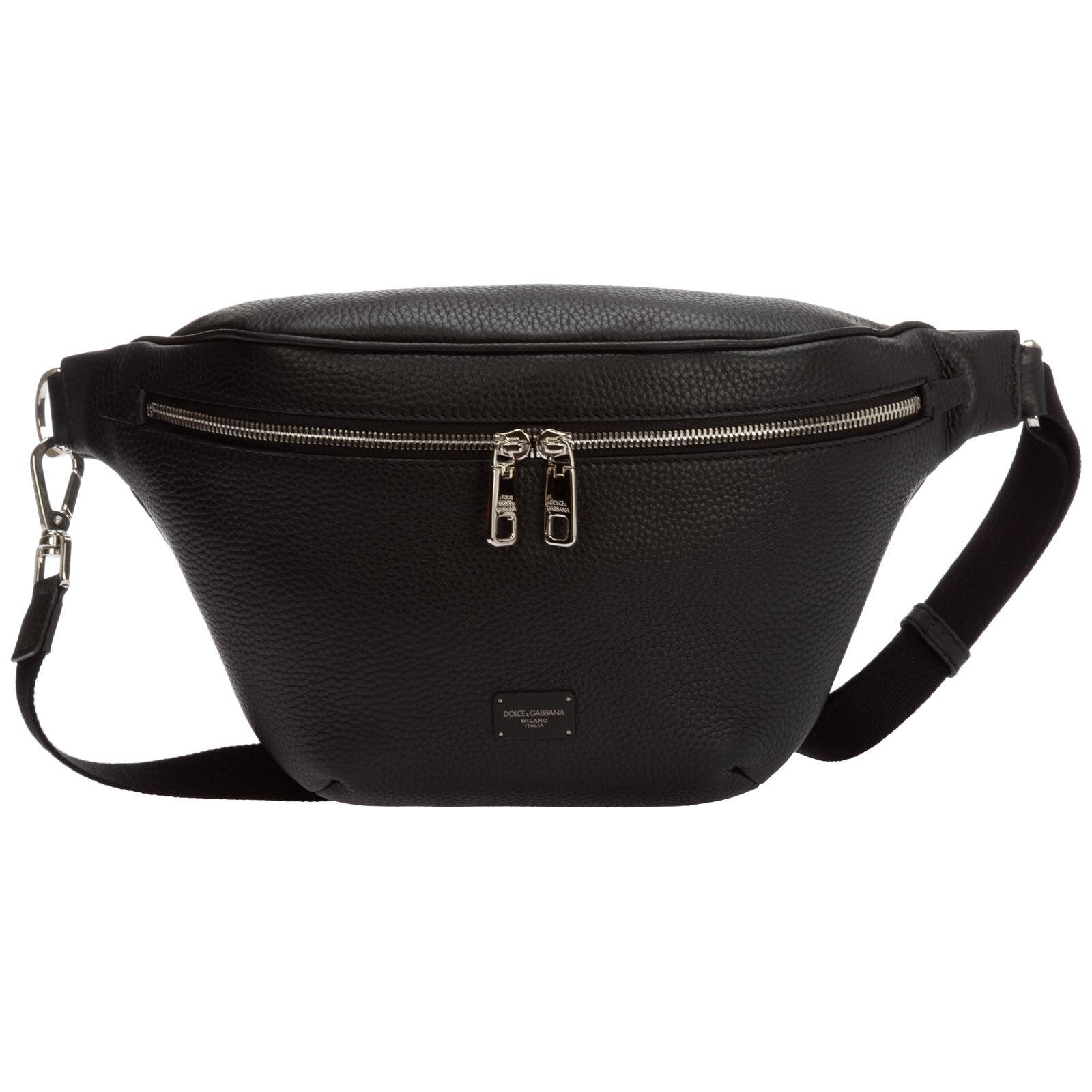 Dolce&Gabbana Men's leather belt bum bag hip pouch  - Black