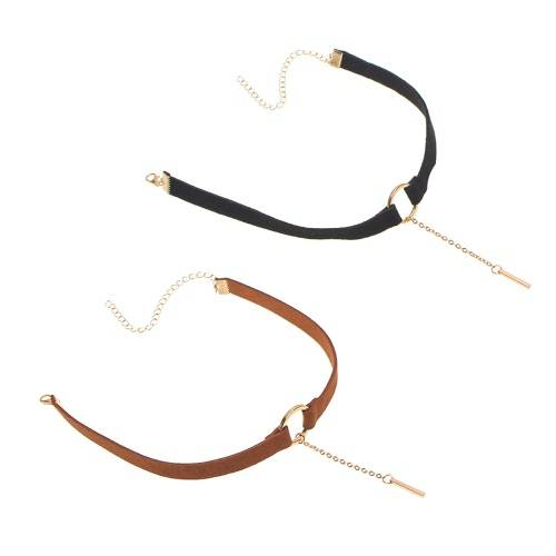 Fashion Accessories Silver Plated Metal Pendant Leather Round Choker Necklace for Couple Lovers