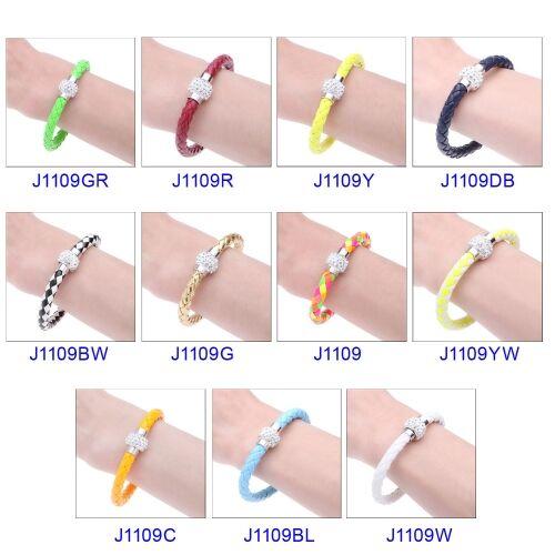 Fashion Jewelry Accessory Leather Magnetic Buckle Rhinestone Crystal Bracelet Bangle Wristband