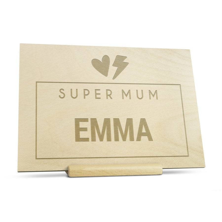 YourSurprise Wooden Mother's Day card - Engraved - Horizontal