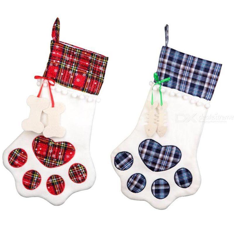 Christmas Stockings Pet Christmas Hanging Stockings Bone Shape Pets Stockings For Christmas Socks Gift Bag Home Decoration