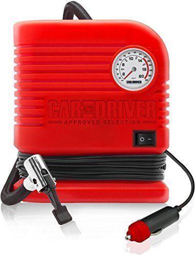 Car and Driver Portable Air Compressor Pump w/ Cigarette Lighter Adapter For Car Bike Tires