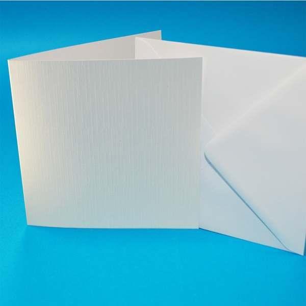 Craft UK 150sq Card Blanks & Envelopes White Linen 300gsm   50 pack
