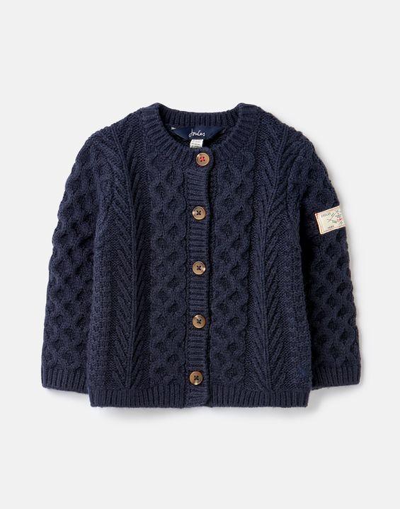 Joules Clothing Rhett Aran Knit Cardigan 0-24 Months - FRENCH NAVY