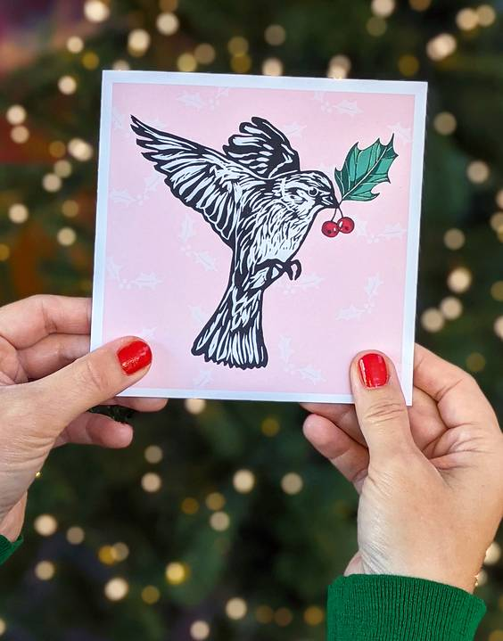 Joules Clothing Feathered Friends Hedge Sparrow Christmas Card
