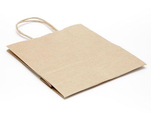 180 x 200 x 80mm - Premium Ribbed Kraft Paper Gift Bags - 50 Bags