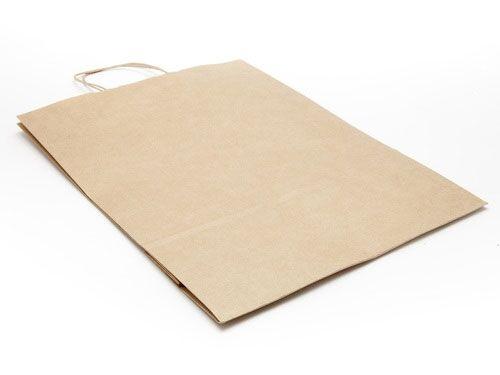 320 x 425 x 130mm - Premium Ribbed Kraft Paper Gift Bags - 50 Bags