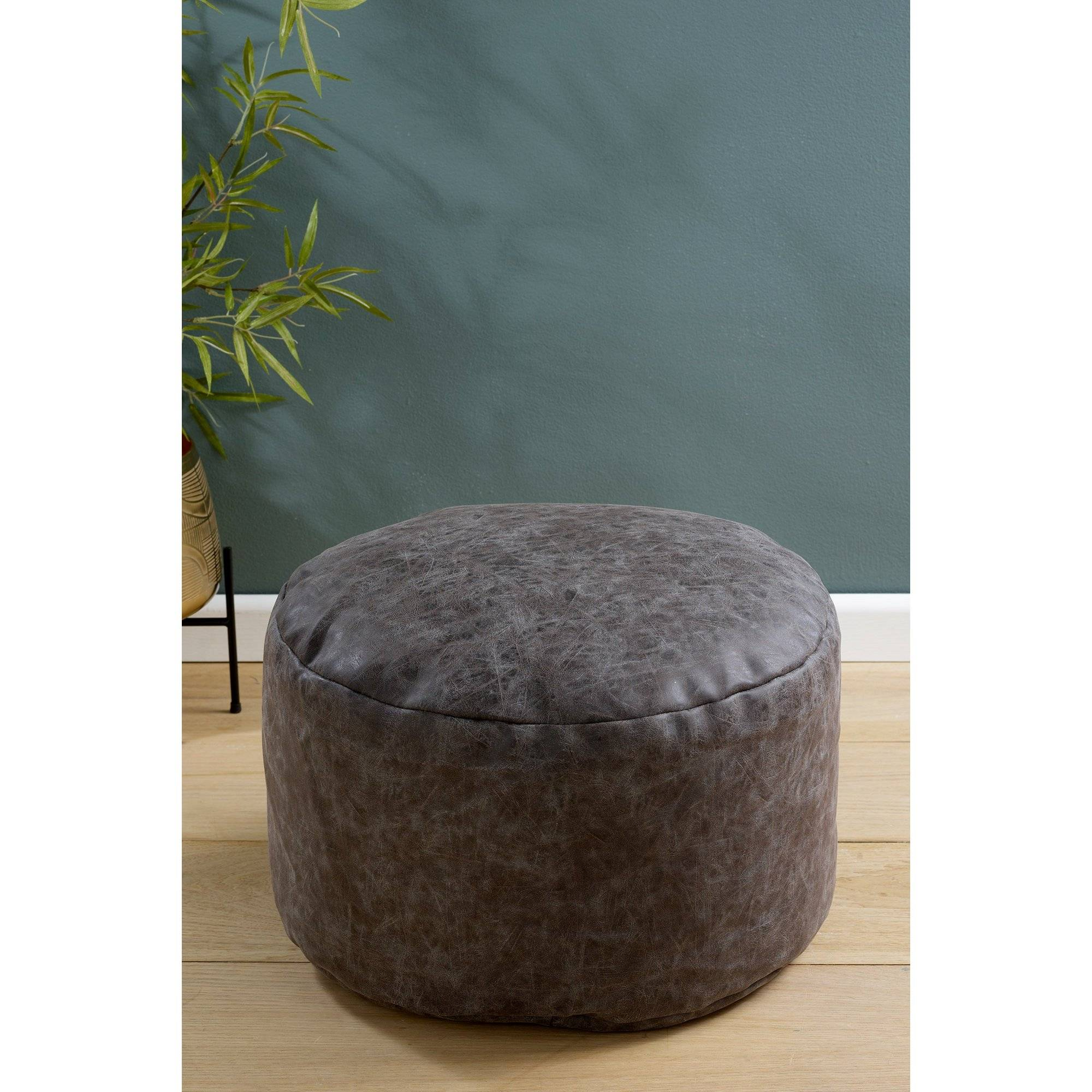 Studio Distressed Faux Leather Footstool  - Grey