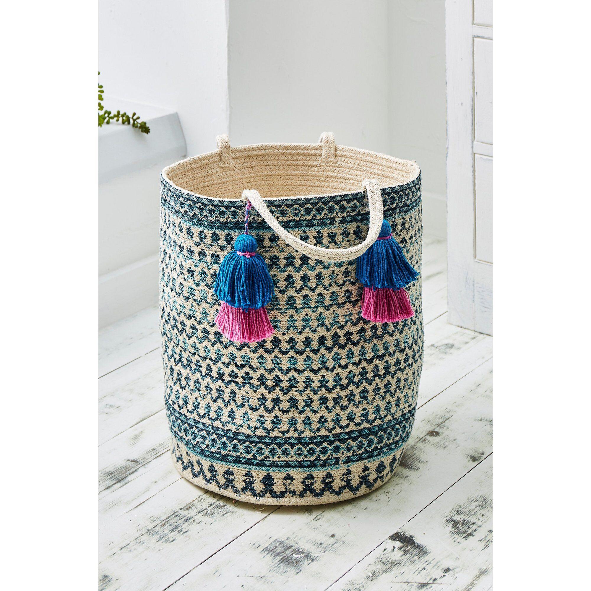 Joe Browns Printed Pom Pom Rope Storage Basket  - Natural