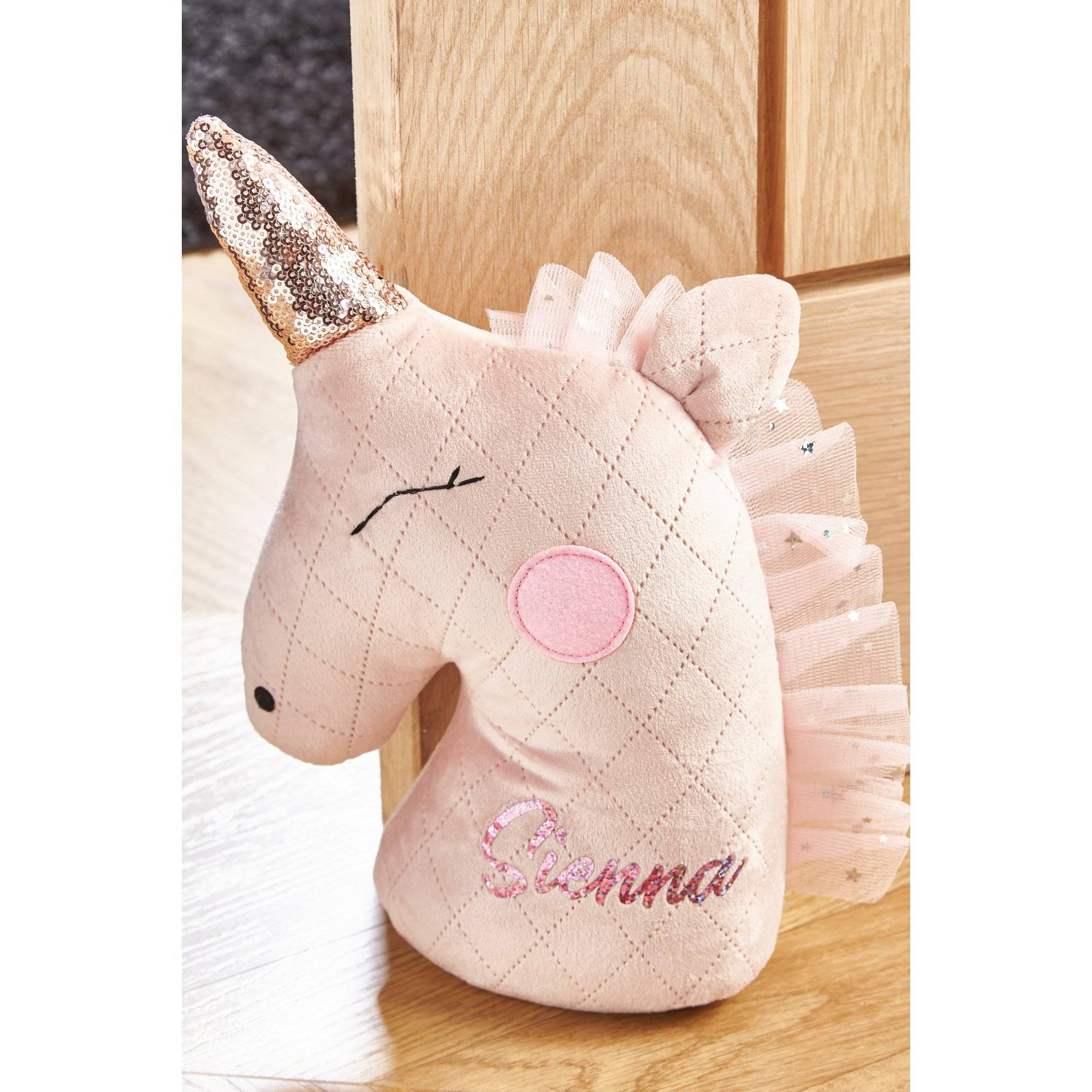 Studio Personalised Unicorn Doorstop  - Pink