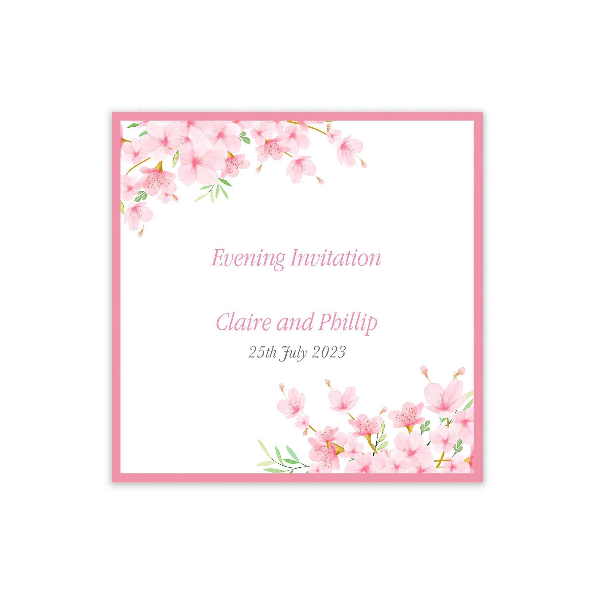 Studio Cherry Blossom Evening Invitations  - Pink - Size: 20