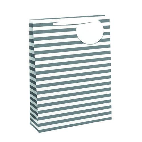 Unbranded Striped Gift Bag Large White/Silver (Pack of 6) 26658-2
