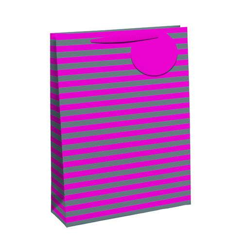 Unbranded Striped Gift Bag Large Pink/Silver (Pack of 6) 26652-2