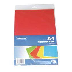 Stephens Assorted Coloured Card (80 Pack)