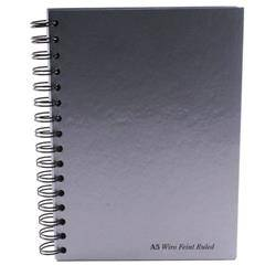 Pukka Pad Notebook Wirebound Hardback Ruled 160pp A5 Silver Pack 5