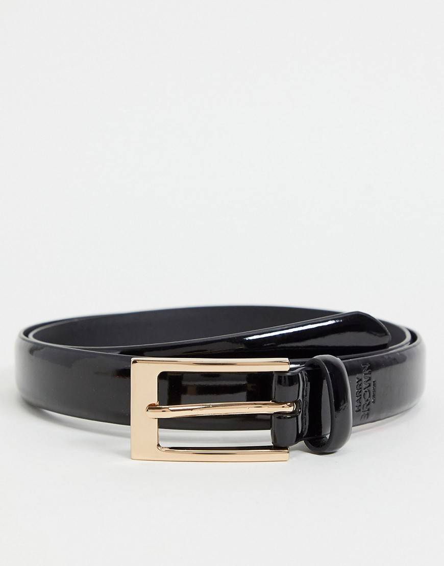 Harry Brown patent skinny belt in black  - Black - Size: Small